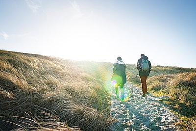Denmark, Henne Strand, People hiking in dune landscape - p300m1189720 von Matthias Buchholz