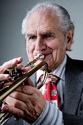 Old trumpet player - p1221m1073006 by Frank Lothar Lange