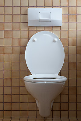 Toilet with open toilet lid - p300m1581084 by Claudia Rehm