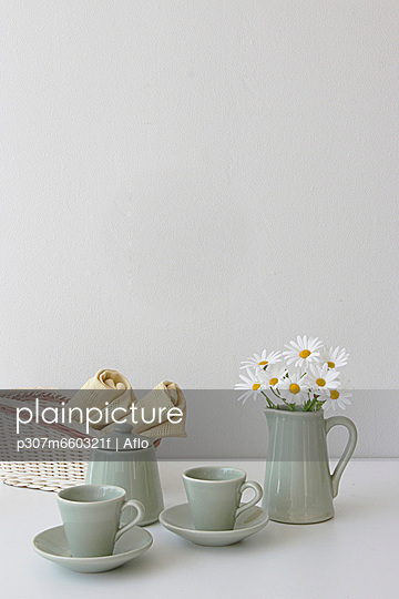 Tea Set With White Flower In Jug