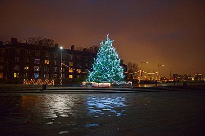 illuminated Christmas tree in urban setting - p1072m899610 by Neville Mountford-Hoare