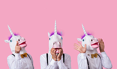 Person dressed up as a unicorn - p1423m2027695 by JUAN MOYANO