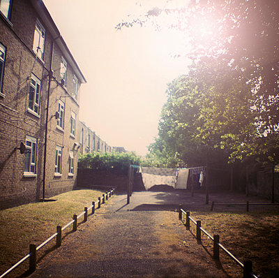 Housing Estate with washing line in morning sun - p1072m829458 by Neville Mountford-Hoare
