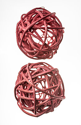 Two red decoration balls - p971m2027807 by Reilika Landen