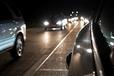 Traffic jam on motorway by night - p300m1068893f by Nabiha Dahhan