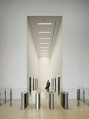 Entrance lobby of commercial building at 3 Hardman Street, Manchester, Greater Manchester. - p855m664516 by Daniel Hopkinson