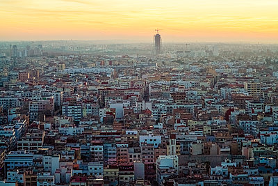 View of Casablanca at sunset from above - p1332m1539825 by Tamboly