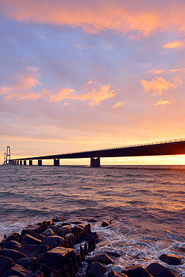Sunset at the Great Belt Bridge - p715m880672 by Marina Biederbick