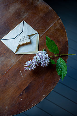 Letter and flower on table - p971m2283738 by Reilika Landen