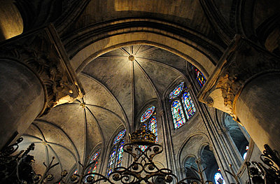 Ceiling inside Notre Dame cathedral in Paris - p1072m829311 by Neville Mountford-Hoare