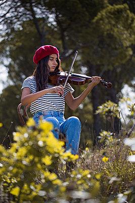 Girl Playing violin - p1623m2212036 by Donatella Loi