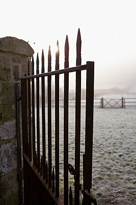 1840s Victorian gate with view onto morning frost on open field - p349m789699 by Brent Darby