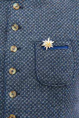 Detail of traditional german men's wool jacket, with edelweiss flower - p1216m2186934 by Céleste Manet