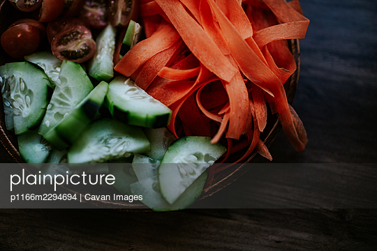 Close up of fresh raw vegetables - p1166m2294694 by Cavan Images