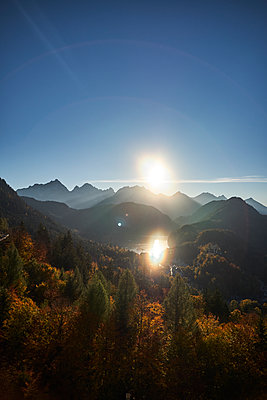 Sunset over the bavarian alps, Bavaria, Germany, Europe, 2017 - p1362m1584094 by Charles Knox