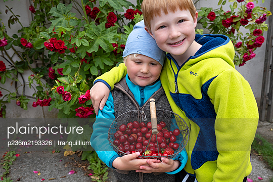 Siblings with fresh cherries in a basket - p236m2193326 by tranquillium