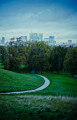 Greenwich park with Docklands in the distance - p1072m874863 by Neville Mountford-Hoare
