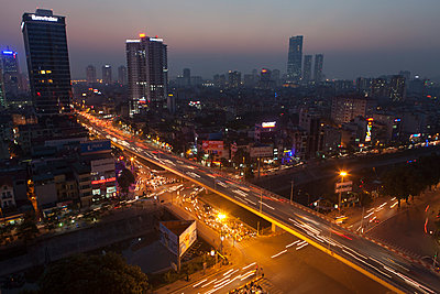 Aerial cityscape of Hanoi at night, Vietnam, Southeast Asia - p934m1071288 by Francois Carlet-Soulages