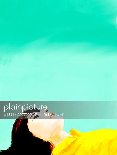 Teenage girl lying on the back, illustration - p1541m2277902 by Ruth Botzenhardt