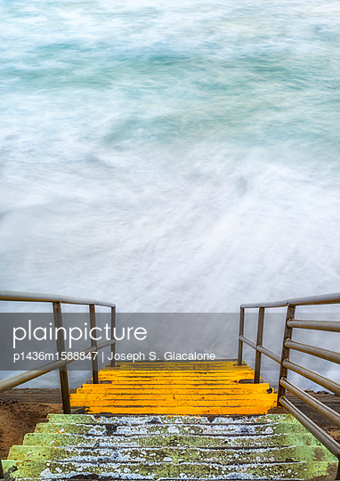 Stairs by the sea - p1436m1588847 by Joseph S. Giacalone