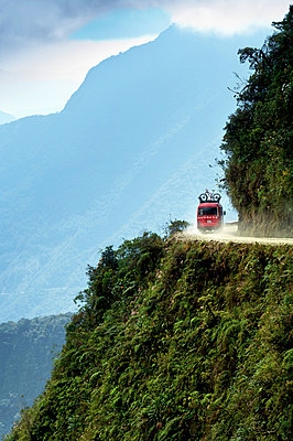 Bolivia, World's Most Dangerous Road, Andes Mountains, Support Van For Mountain Bikers, Yungas - p651m860437 by John Coletti photography