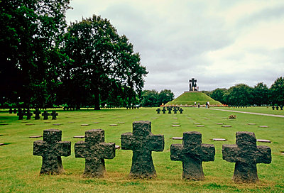 Headstones at a German Military Cemetery where 21,222 Germans are buried at La Combe in Normandy - p871m861558 by Tim Graham