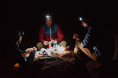 Dinner in high altitude in Guajara mountain, El Teide - p1166m2131209 by Cavan Images
