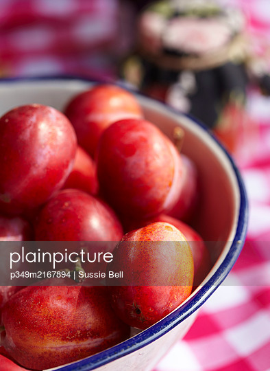 Detail of bowl of Victoria Plums in an enamel bowl on table top - p349m2167894 by Sussie Bell