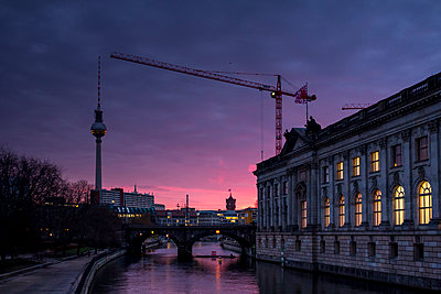 Germany, Berlin, television tower and lighted Bode Museum at twilight - p300m1115019f by Big Man
