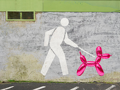 Balloon Dog Street Art - p1280m1439925 by Dave Wall