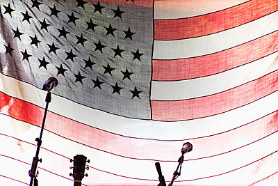 Microphones and guitar by American Flag - p1427m2077519 by Chris Hackett