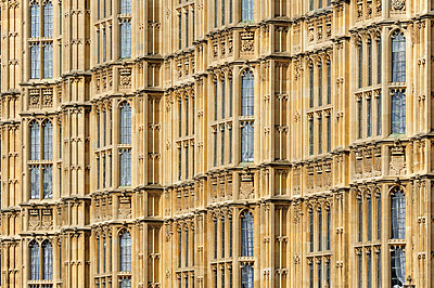 UK, London, detail of Palace of Westminster - p300m978075f by Michael Zegers
