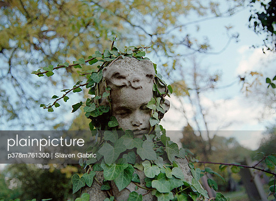 Statue head covered in ivy - p378m761300 by Slaven Gabric