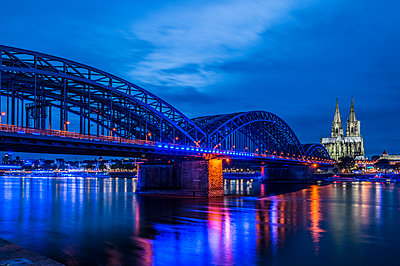 Hohenzollern Bridge and Cologne Cathedral - p401m2013554 by Frank Baquet