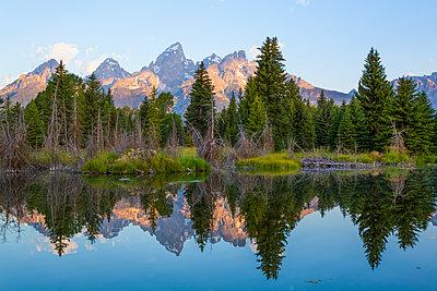 Teton Range from Schwabache Landing, Grand Teton National Park; Wyoming, United States of America - p442m2039528 by Richard Maschmeyer