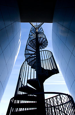 Spiral staircase outside Perlan, a modern building housing the Saga Museum, Reykjavik, Iceland, Polar Regions - p8713740 by Lee Frost