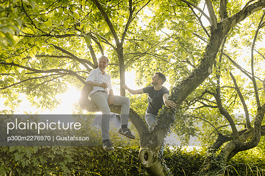 Son looking at father laughing on tree in back yard - p300m2276970 by Gustafsson