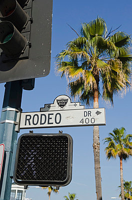 Rodeo Drive Street Sign With Palm Tree In Background; Los Angeles California United States Of America - p442m748618f by Thomas Fricke