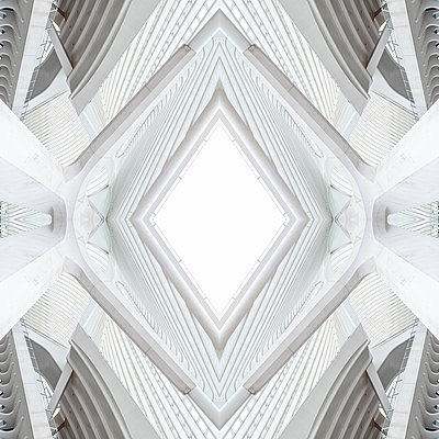 Abstract kaleidoscope pattern Liège-Guillemins station in Liège - p401m2207492 by Frank Baquet