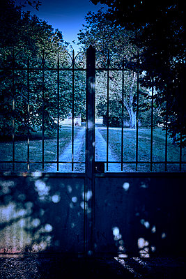 Closed garden gate at twilight - p1312m2270005 by Axel Killian