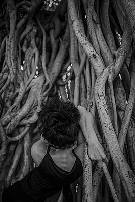 Woman in between roots - p1508m2045050 by Mona Alikhah