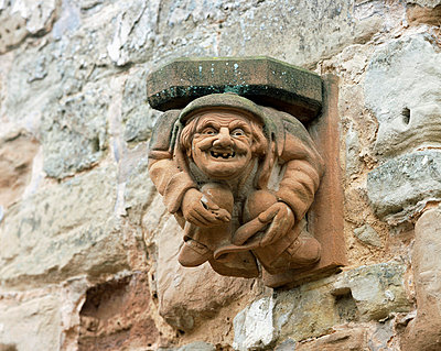 Rufford Abbey. Detail of carved corbel. - p8551787 by Steve Cole
