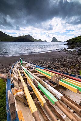 Abandoned boat on the beach, Bour, Vagar Island, Faroe Islands, Denmark, Europe - p871m2003506 by Roberto Moiola