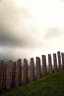 Wooden poles on the hill - p382m1074180 by Anna Matzen