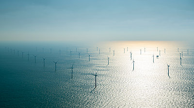 Offshore windfarm, north of Island of Ameland, Friesland, Netherlands - p429m2164989 by Mischa Keijser