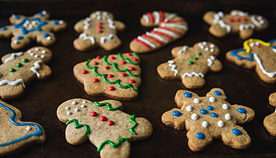 Close-up of gingerbread cookies in baking sheet - p1166m1555003 by Cavan Images