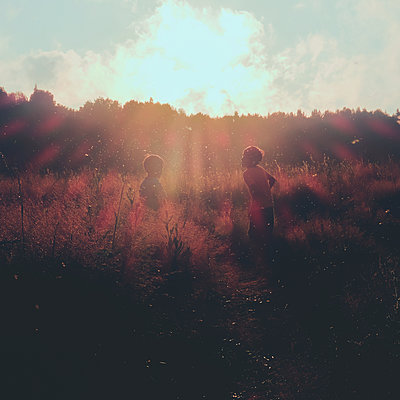 Boys playing in meadows, Ural, Sverdlovsk, Russia - p429m2075448 by Aliyev Alexei Sergeevich