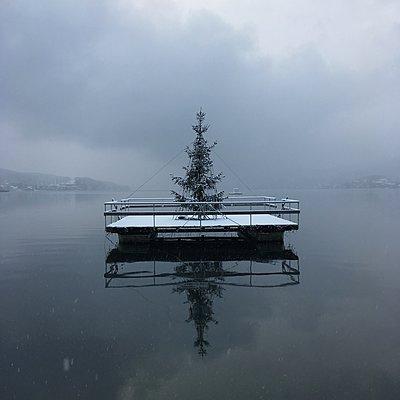 Weihnachtsbaum auf einer Plattform, Wörthersee - p1401m2229887 von Jens Goldbeck