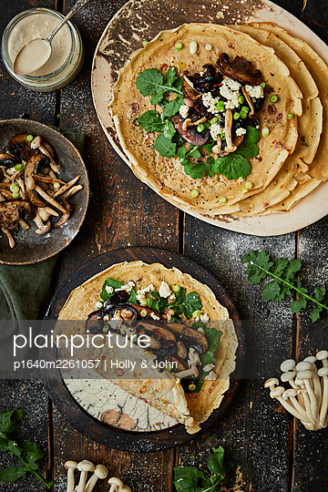 Pancakes with mushrooms - p1640m2261057 by Holly & John