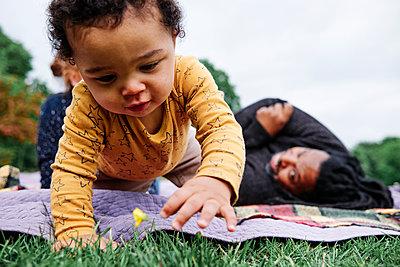 Boy touching flower in grass at park - p300m2287221 by Angel Santana Garcia